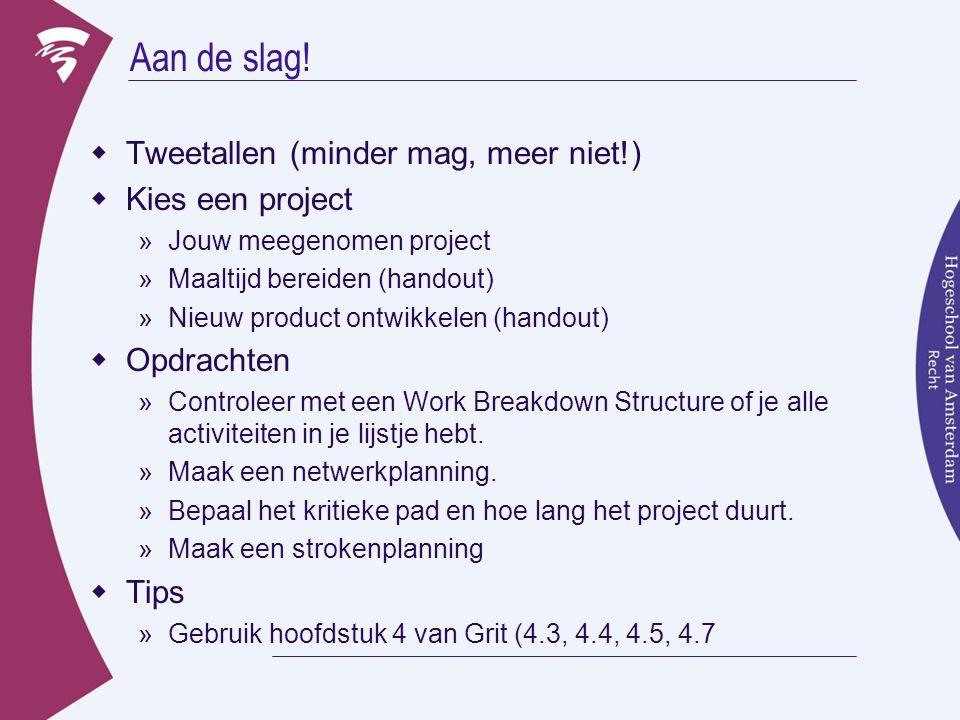 Aan de slag! Tweetallen (minder mag, meer niet!) Kies een project