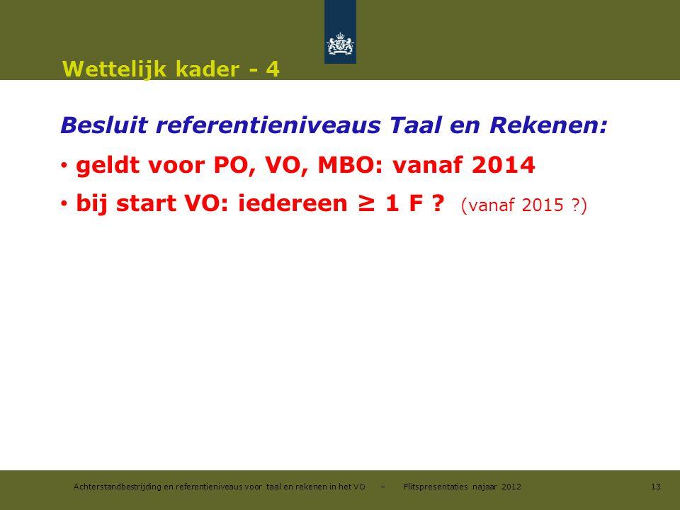 Besluit referentieniveaus Taal en Rekenen:
