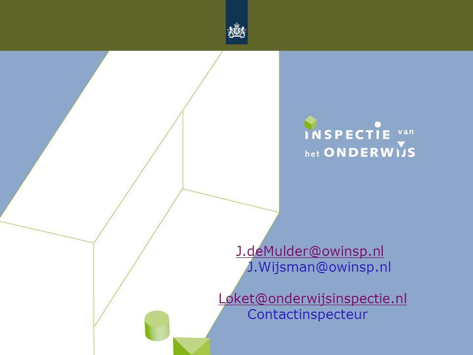 J.deMulder@owinsp.nl J.Wijsman@owinsp.nl Loket@onderwijsinspectie.nl Contactinspecteur