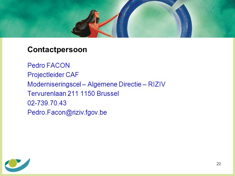 Contactpersoon Pedro FACON Projectleider CAF