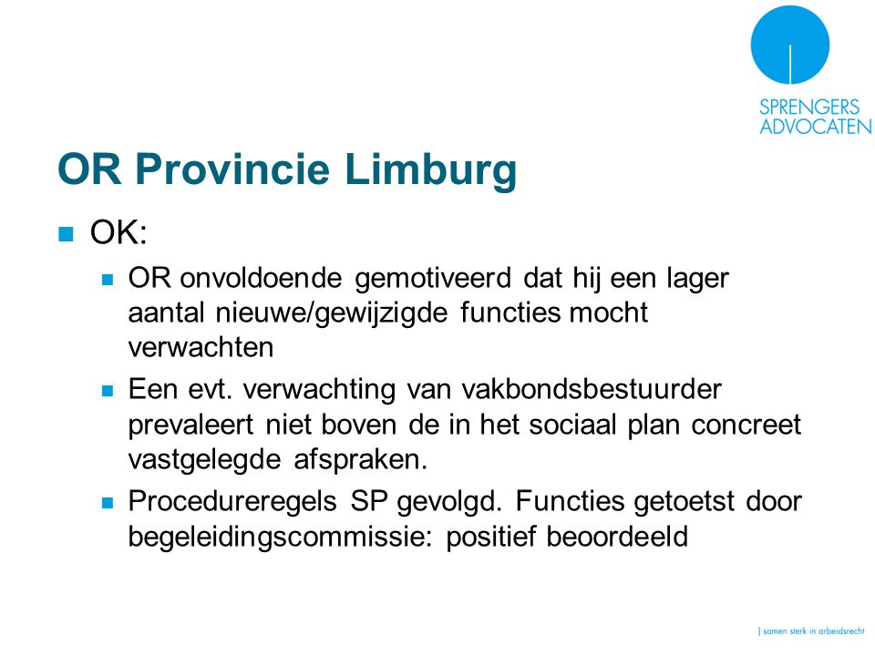 OR Provincie Limburg OK: