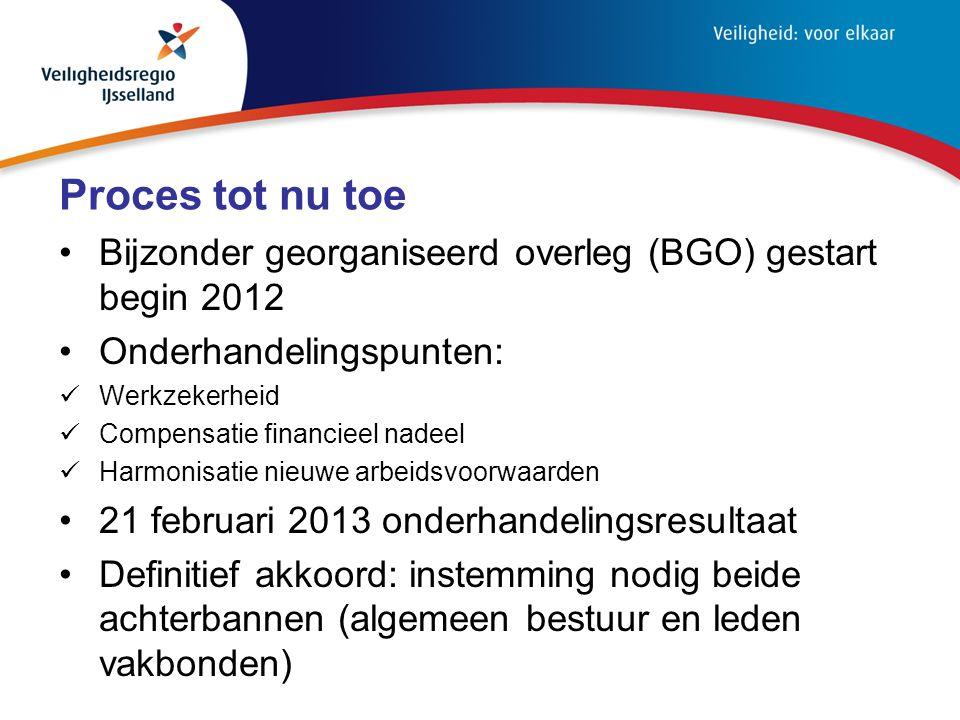 Proces tot nu toe Bijzonder georganiseerd overleg (BGO) gestart begin 2012. Onderhandelingspunten: