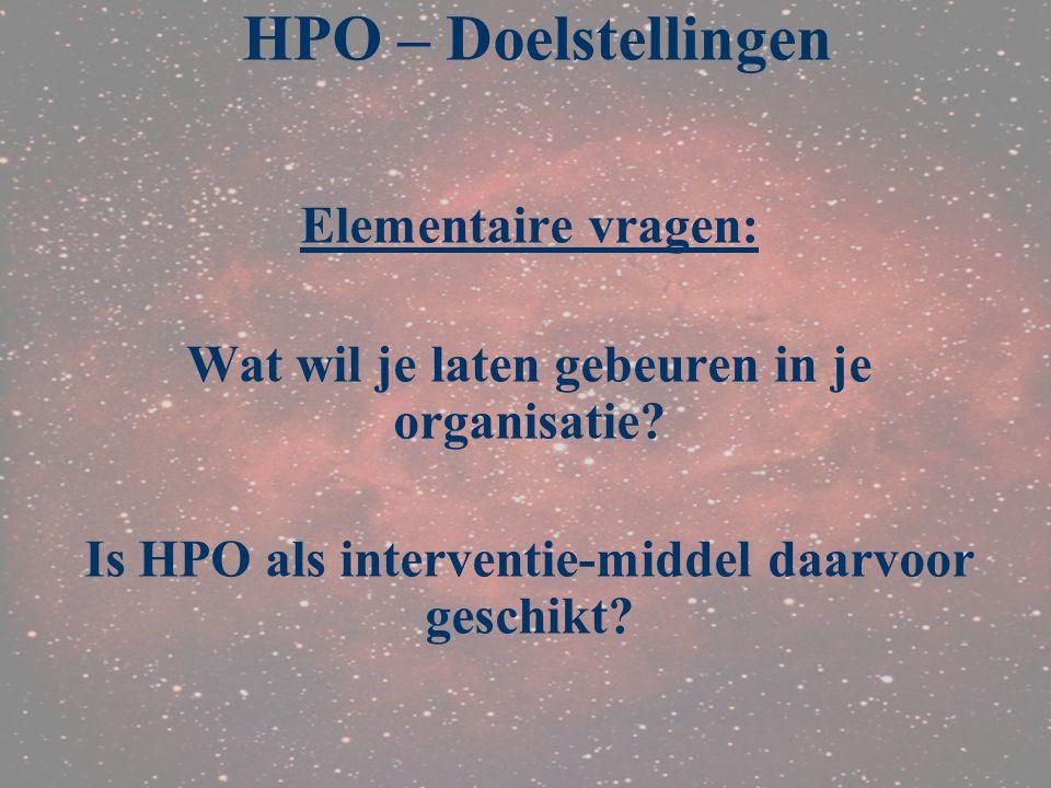 HPO – Doelstellingen Elementaire vragen: