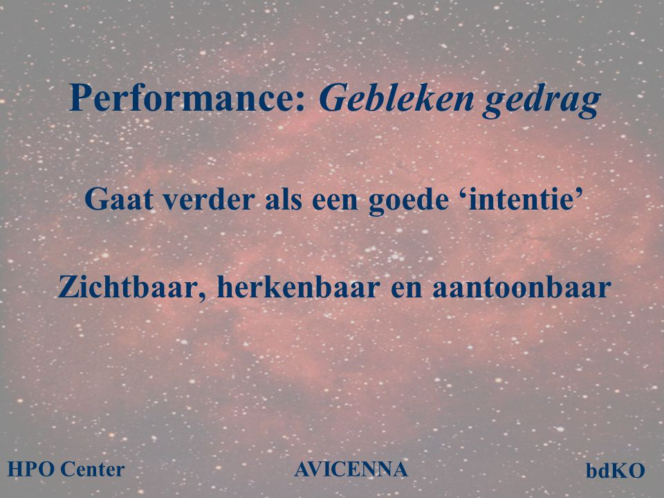 Performance: Gebleken gedrag