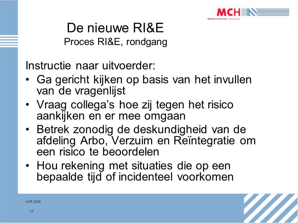 De nieuwe RI&E Proces RI&E, rondgang