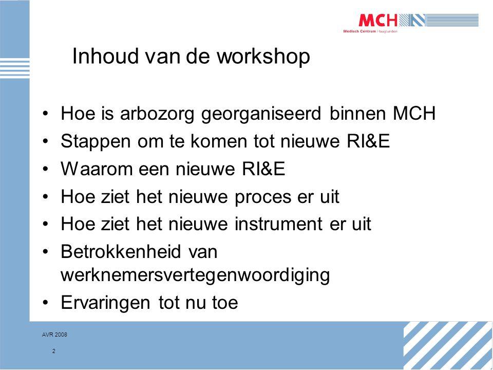 Inhoud van de workshop Hoe is arbozorg georganiseerd binnen MCH