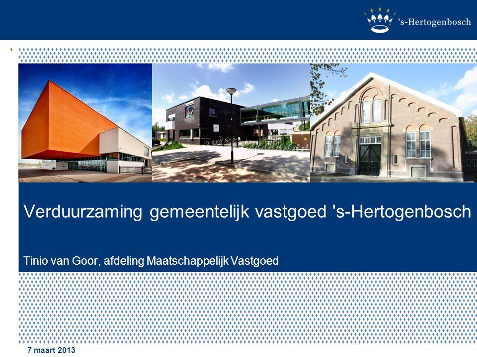 Verduurzaming gemeentelijk vastgoed s-Hertogenbosch Tinio van Goor, afdeling Maatschappelijk Vastgoed