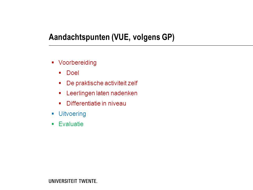 Aandachtspunten (VUE, volgens GP)