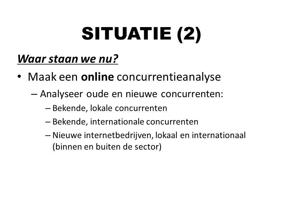 SITUATIE (2) Waar staan we nu Maak een online concurrentieanalyse