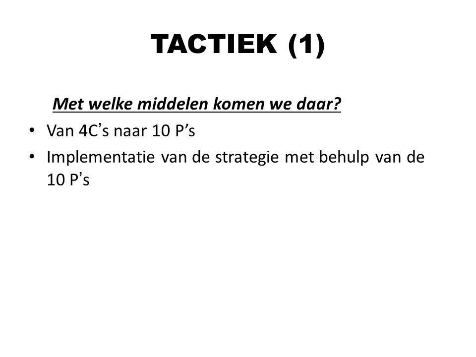 TACTIEK (1) Met welke middelen komen we daar Van 4C's naar 10 P's