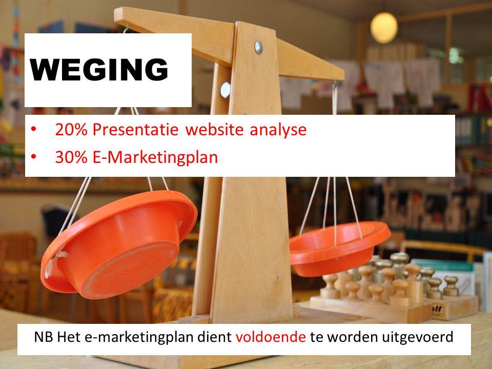 NB Het e-marketingplan dient voldoende te worden uitgevoerd