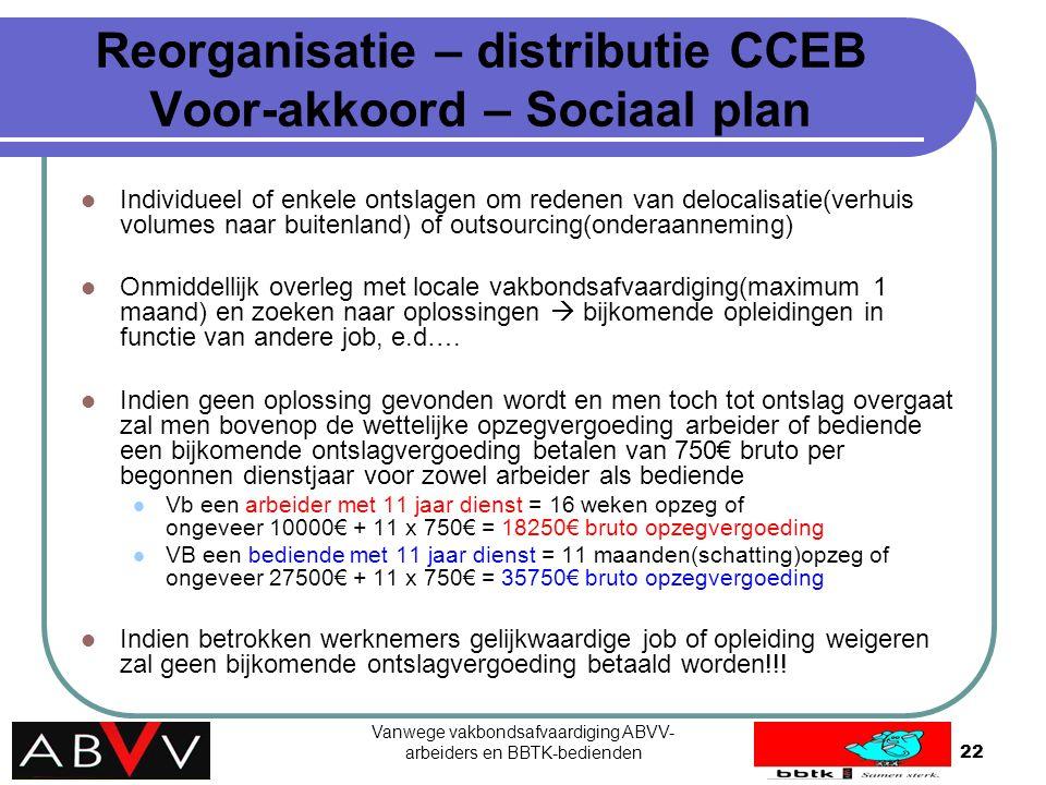 Reorganisatie – distributie CCEB Voor-akkoord – Sociaal plan