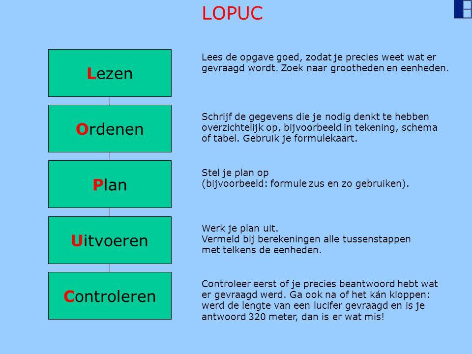 LOPUC Lezen Ordenen Plan Uitvoeren Controleren