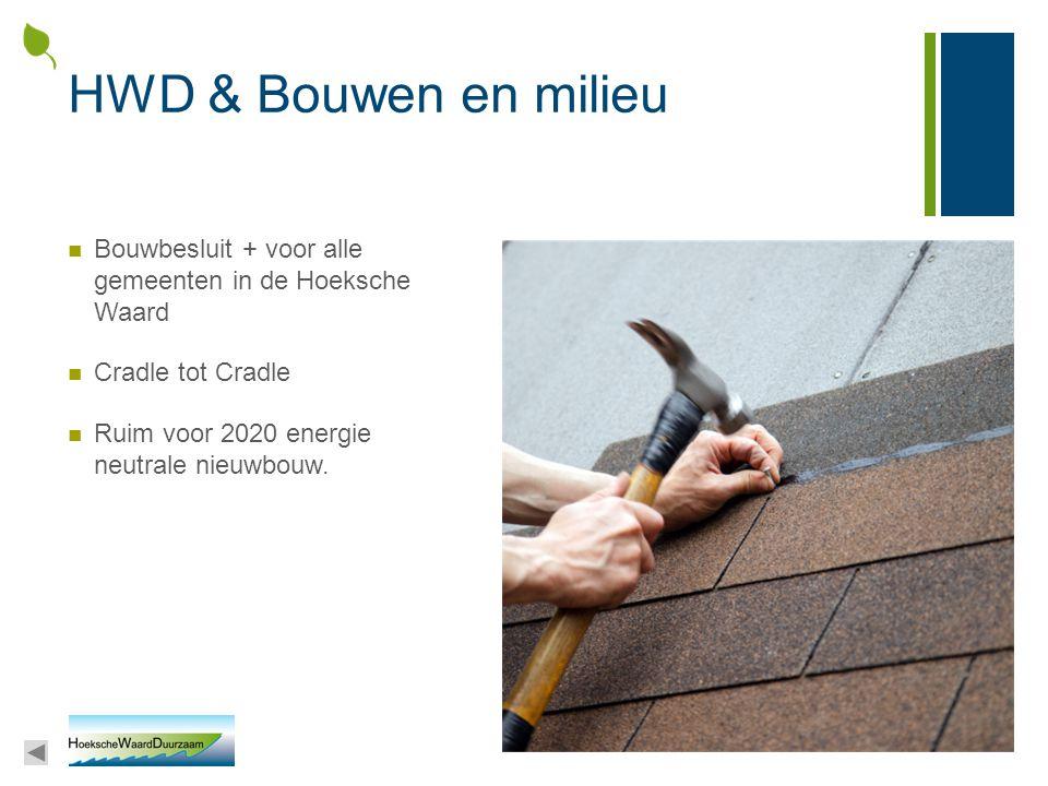 HWD & Bouwen en milieu Bouwbesluit + voor alle gemeenten in de Hoeksche Waard. Cradle tot Cradle.