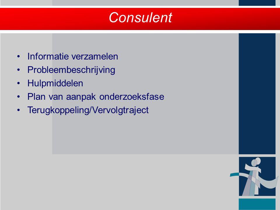 Consulent Informatie verzamelen Probleembeschrijving Hulpmiddelen
