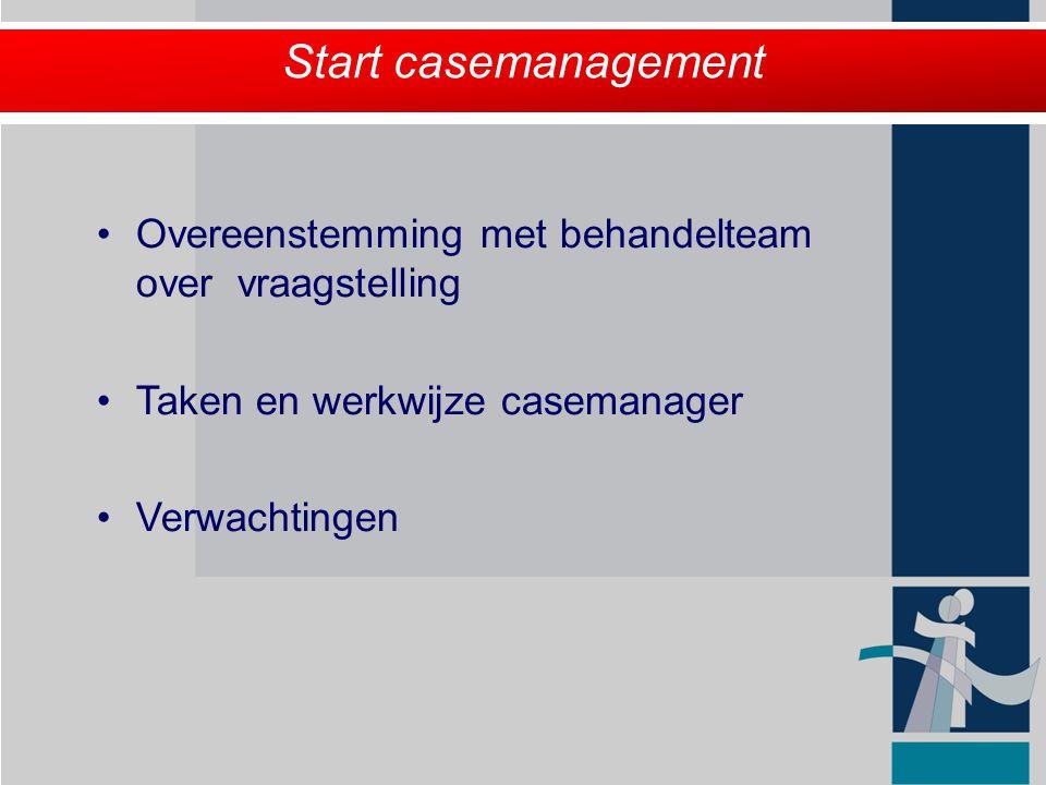 Start casemanagement Overeenstemming met behandelteam over vraagstelling. Taken en werkwijze casemanager.