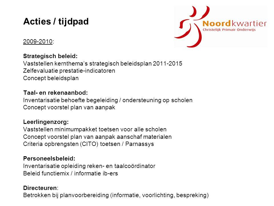 Acties / tijdpad 2009-2010: Strategisch beleid:
