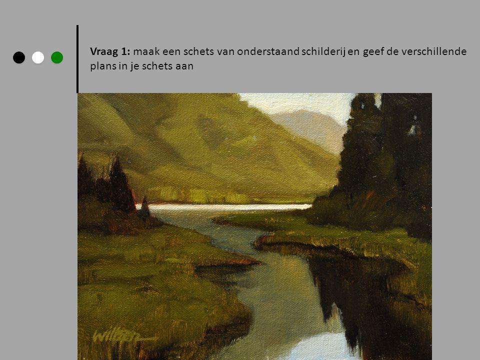 Vraag 1: maak een schets van onderstaand schilderij en geef de verschillende plans in je schets aan
