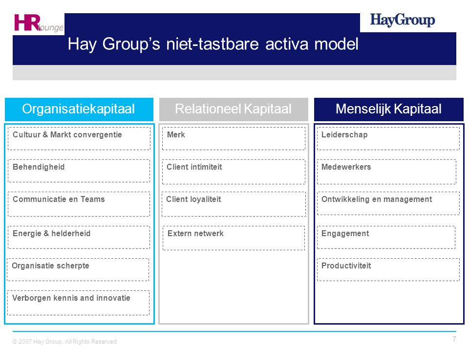 Hay Group's niet-tastbare activa model