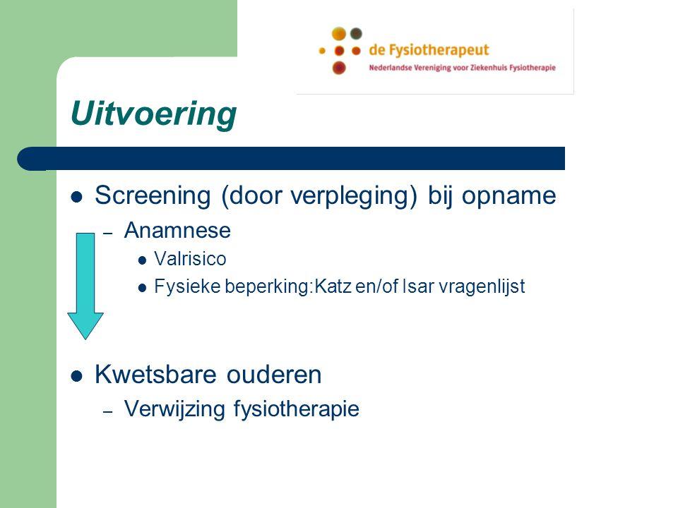 Uitvoering Screening (door verpleging) bij opname Kwetsbare ouderen