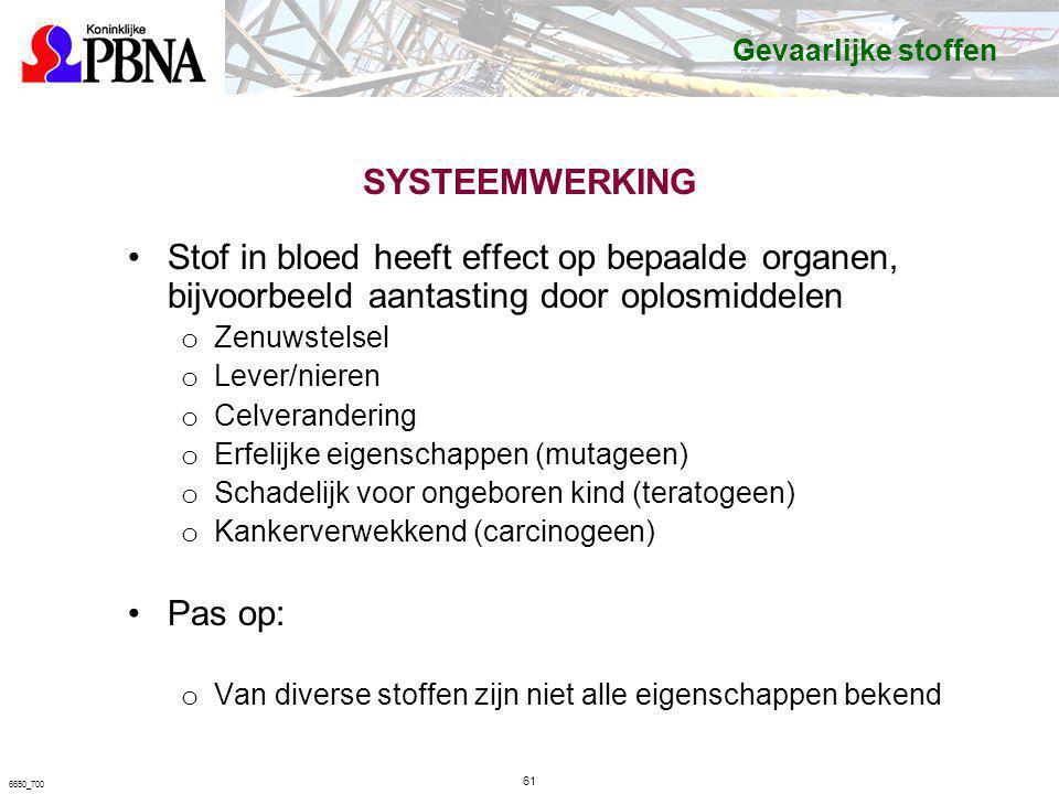 Gevaarlijke stoffen SYSTEEMWERKING. Stof in bloed heeft effect op bepaalde organen, bijvoorbeeld aantasting door oplosmiddelen.