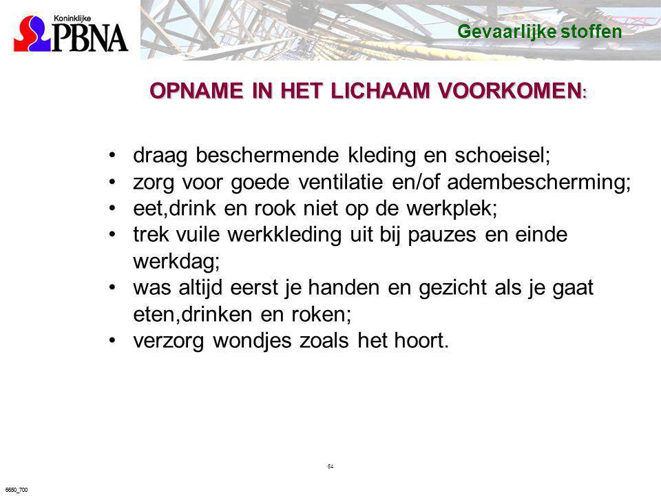 OPNAME IN HET LICHAAM VOORKOMEN: