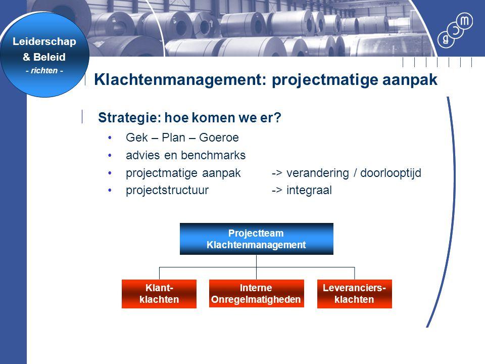 Klachtenmanagement: projectmatige aanpak