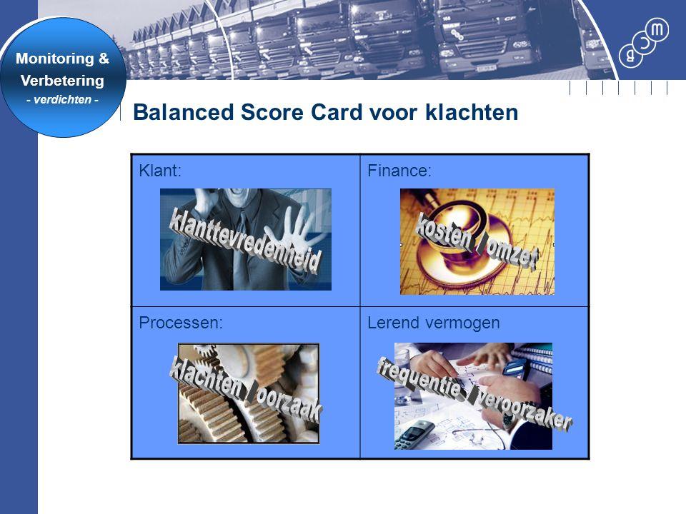Balanced Score Card voor klachten