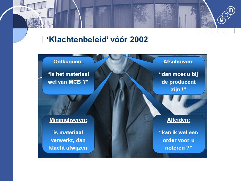 'Klachtenbeleid' vóór 2002