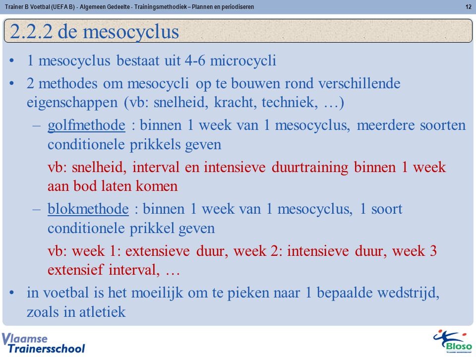 2.2.2 de mesocyclus 1 mesocyclus bestaat uit 4-6 microcycli