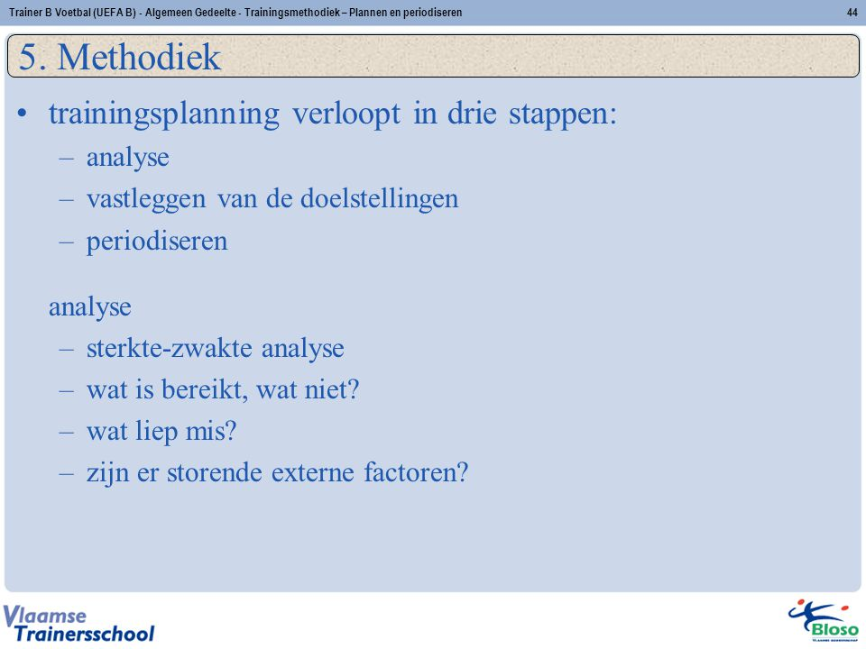 5. Methodiek trainingsplanning verloopt in drie stappen: analyse