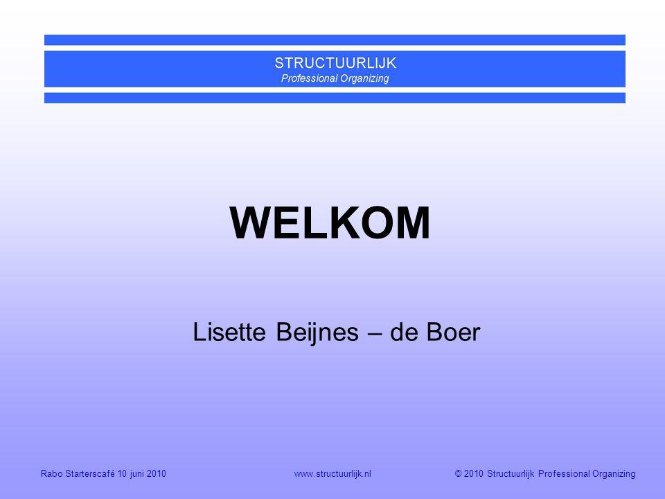 WELKOM Lisette Beijnes – de Boer Rabo Starterscafé 10 juni 2010