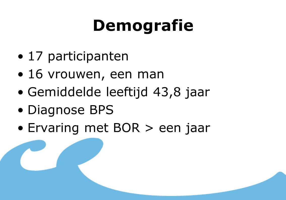 Demografie 17 participanten 16 vrouwen, een man