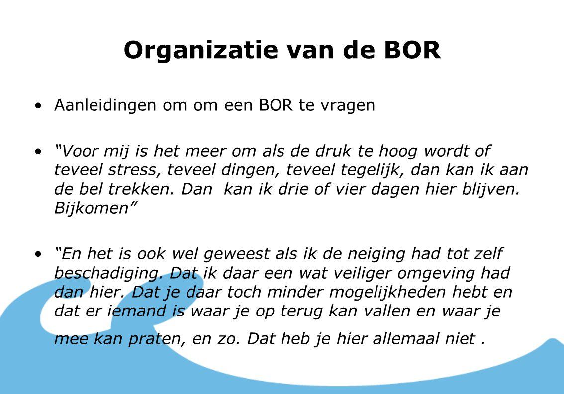 Organizatie van de BOR Aanleidingen om om een BOR te vragen