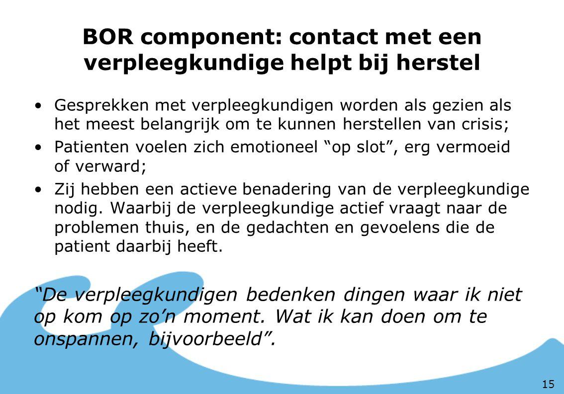 BOR component: contact met een verpleegkundige helpt bij herstel