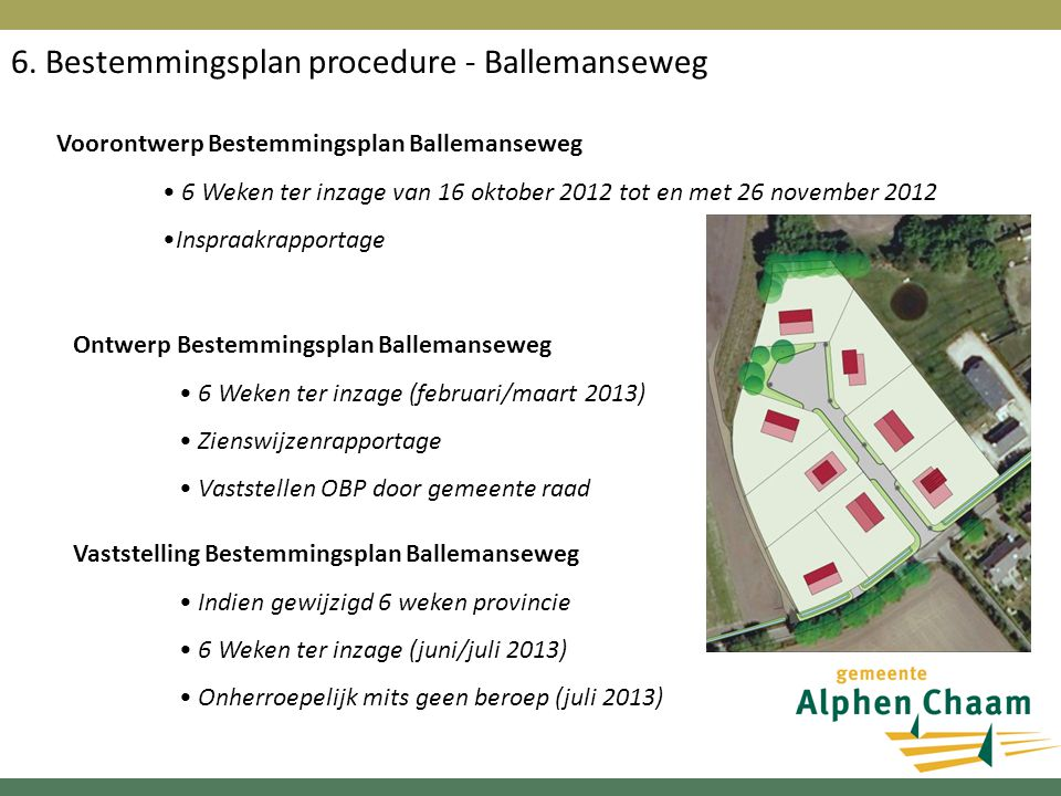 6. Bestemmingsplan procedure - Ballemanseweg