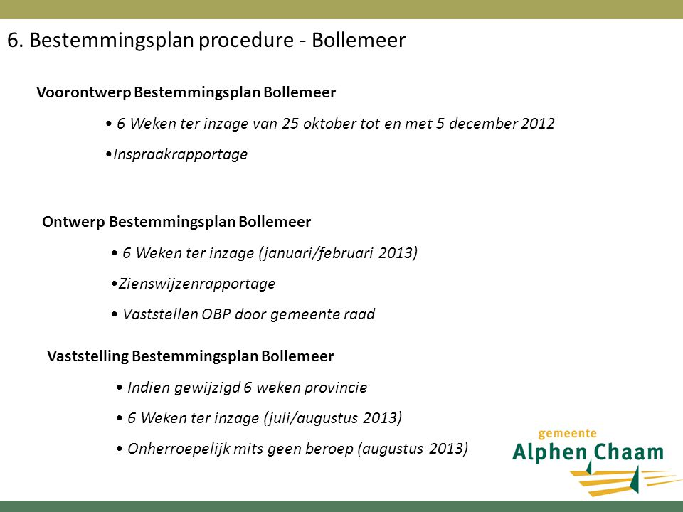 6. Bestemmingsplan procedure - Bollemeer