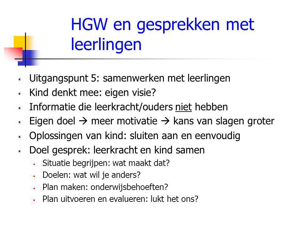 HGW en gesprekken met leerlingen