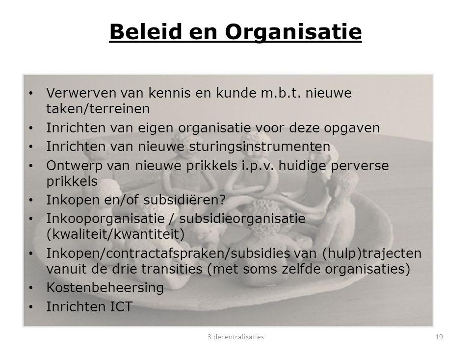 Beleid en Organisatie Verwerven van kennis en kunde m.b.t. nieuwe taken/terreinen. Inrichten van eigen organisatie voor deze opgaven.