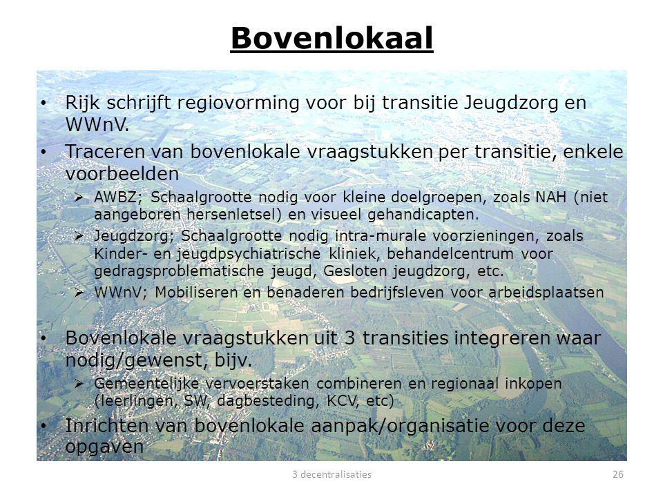 Bovenlokaal Rijk schrijft regiovorming voor bij transitie Jeugdzorg en WWnV. Traceren van bovenlokale vraagstukken per transitie, enkele voorbeelden.