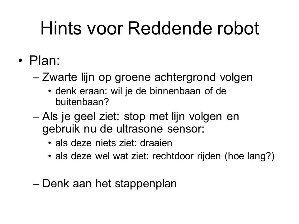 Hints voor Reddende robot