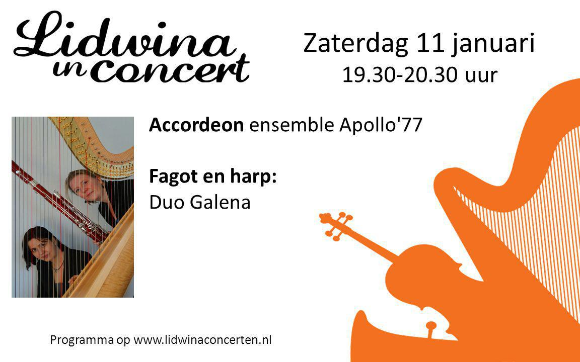 Zaterdag 11 januari uur Accordeon ensemble Apollo 77