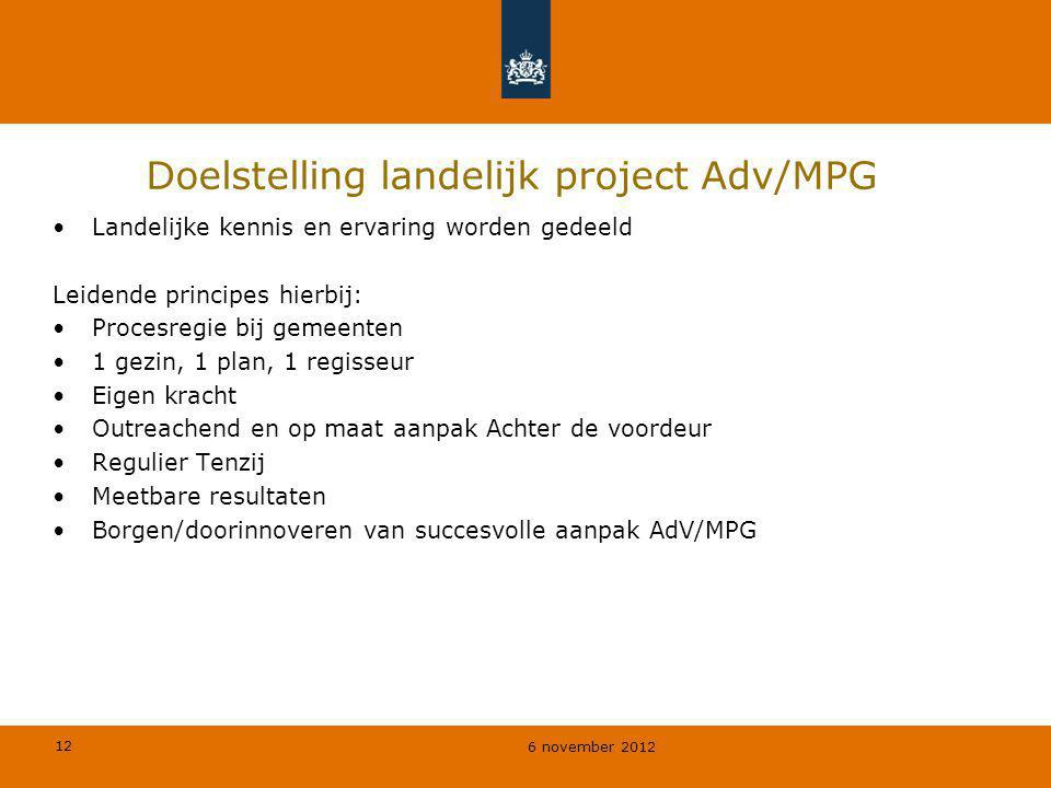 Doelstelling landelijk project Adv/MPG