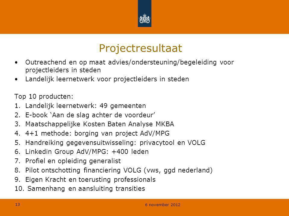 Projectresultaat Outreachend en op maat advies/ondersteuning/begeleiding voor projectleiders in steden.