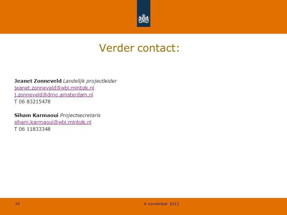 Verder contact: