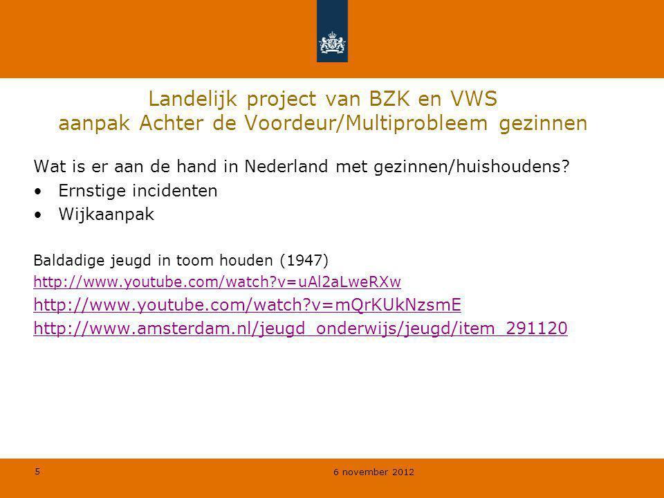 Landelijk project van BZK en VWS aanpak Achter de Voordeur/Multiprobleem gezinnen