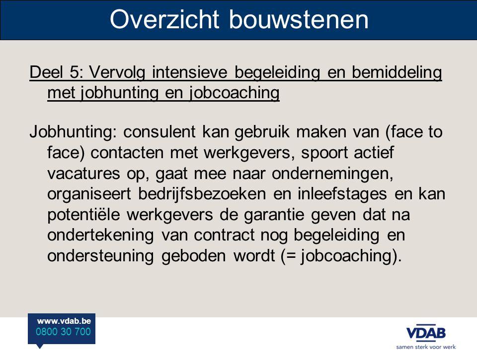 Overzicht bouwstenen Deel 5: Vervolg intensieve begeleiding en bemiddeling met jobhunting en jobcoaching.
