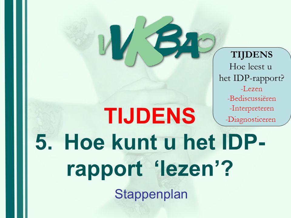 TIJDENS 5. Hoe kunt u het IDP-rapport 'lezen'
