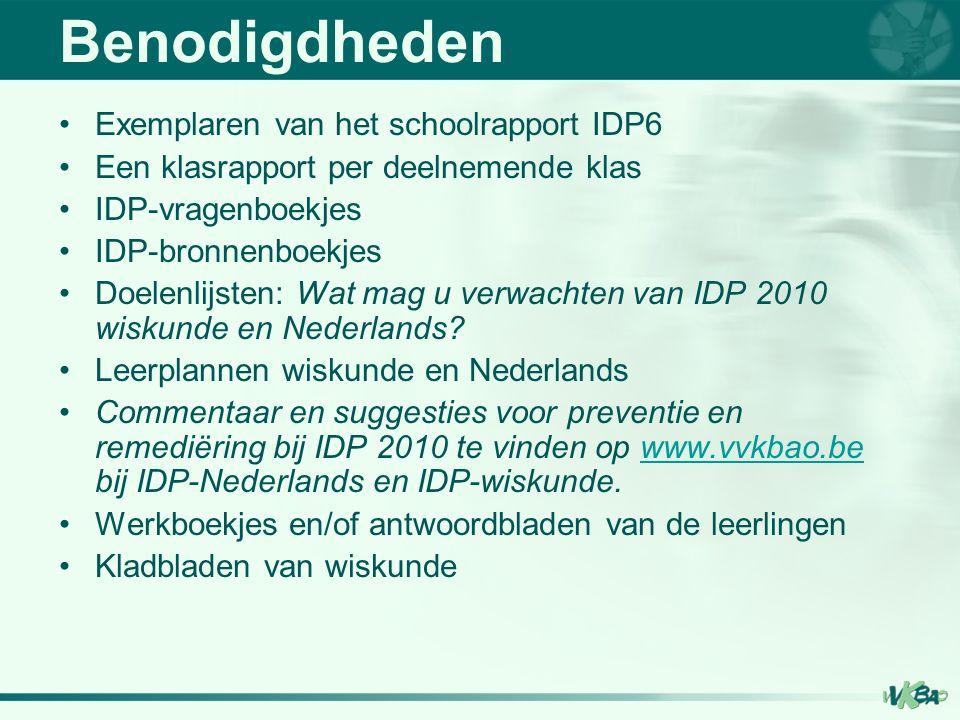 Benodigdheden Exemplaren van het schoolrapport IDP6