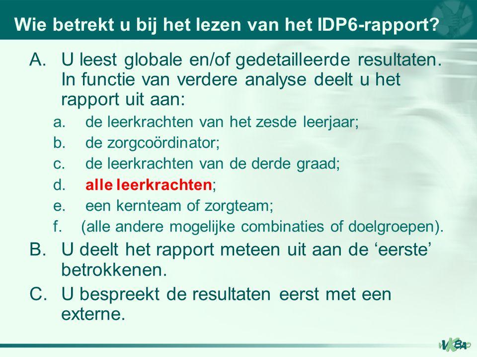 Wie betrekt u bij het lezen van het IDP6-rapport